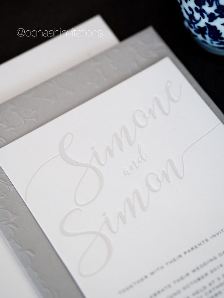 wedding invitation wording vegetarian option%0A Simone  u     Simon  Blind deboss detail for this wedding invitation  Order a  sample