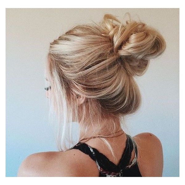 loose bun | hair | Pinterest ❤ liked on Polyvore featuring beauty products, haircare, hair styling tools, hair, hair styles and filler