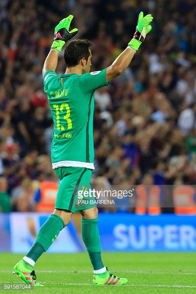 Barcelona's Chilean goalkeeper Claudio Bravo celebrates after Barcelona's…