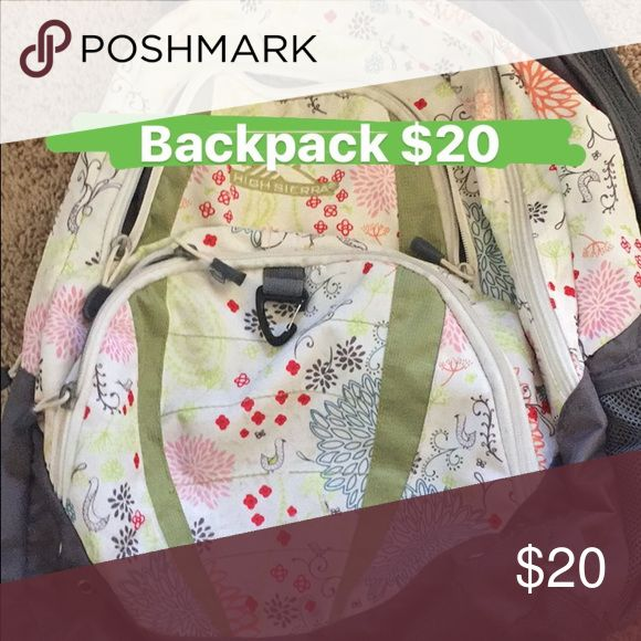 Floral back back 4 pocket back pack with lots of space. Fits comfortably and straps are adjustable. Perfect as luggage for short trips, book bag for school or work and excellent for hiking purposes. High Sierra Other