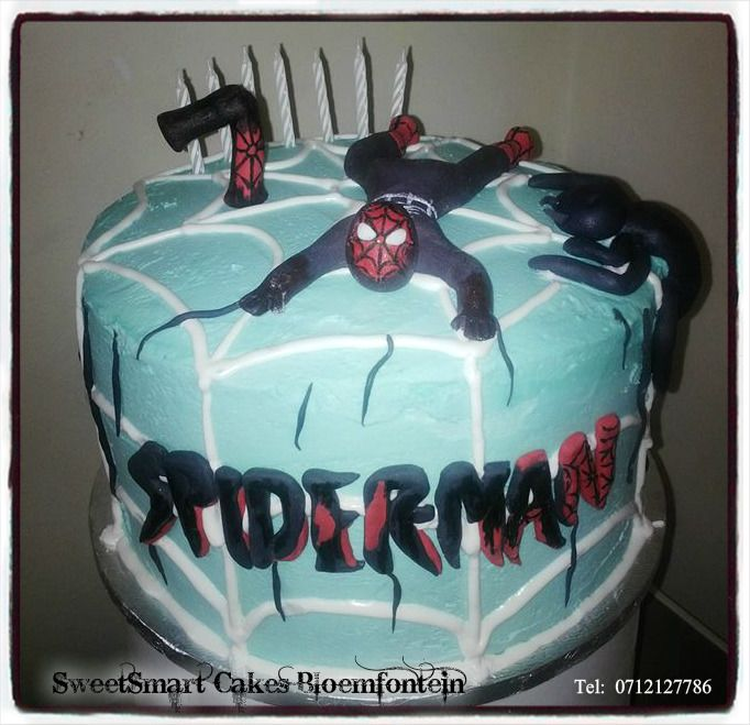 Black Spider-man cake (Buttercream) For more info & orders, email SweetArtBfn@gmail.com or call 0712127786