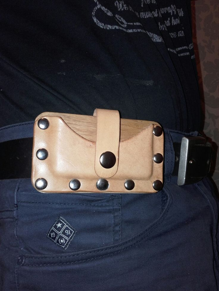 Wood and leather Care holder. Wallet mini.hand made