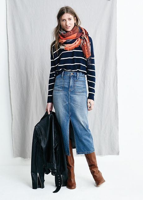 """5 Ways To Look Impeccably Disheveled, Courtesy Of Madewell's Head Honcho #refinery29  http://www.refinery29.com/madewell-fall-lookbook-styling-tips#slide-1  Some might think you need a bare leg or an ankle bootie to wear a hem this long, but that's not the case. """"Longer skirts are high on cool-factor,"""" Sikhounmuong says, """"and I think the easiest way to wear them is with some height — a chunky-heel boot is my favorite. It's a nod to the '70s (a definite prevailing mood right now) while…"""