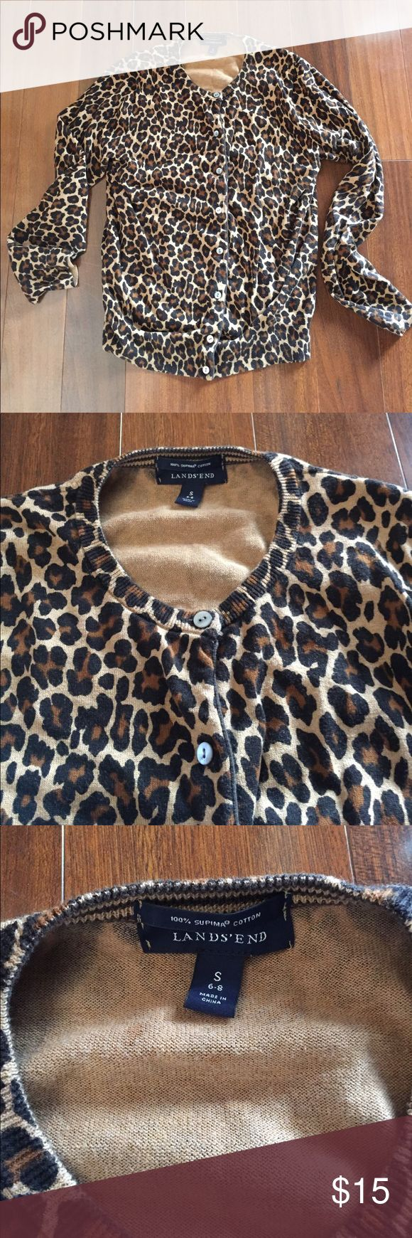 Cheetah cardigan Gently used but still in good condition. No pilling. Long sleeve button down cardigan. Size small (6-8) runs a little on the big side. Lands' End Sweaters Cardigans