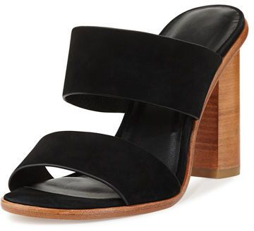 Black and cognac go so nicely together.  Super cute heeled sandals!  Joie Banner Nubuck 100mm Mule Sandal (affiliate)