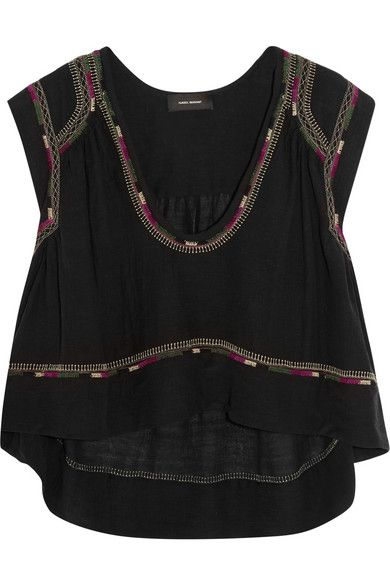 Isabel Marant | Curtis cropped embroidered silk-bourette top | NET-A-PORTER.COM