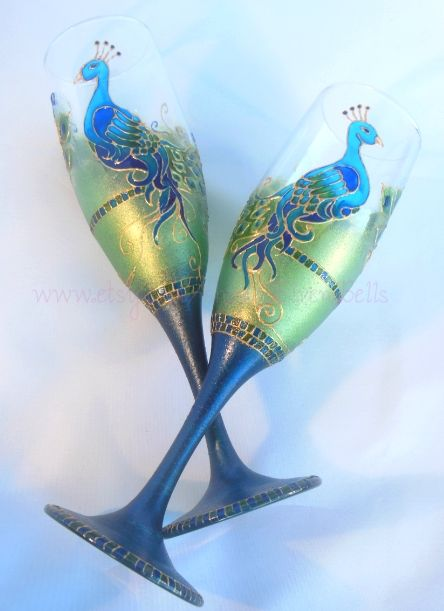 PEACOCK~WEDDING FLUTES https://www.etsy.com/listing/176875823/peacock-wedding-flute-hand-painted?ref=shop_home_active_1