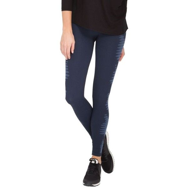 Spanx Pure Navy Aztec Stripe Seamless Leggings - Women's ($68) ❤ liked on Polyvore featuring pants, leggings, legging pants, seamless leggings, navy leggings, navy trousers and seamless pants