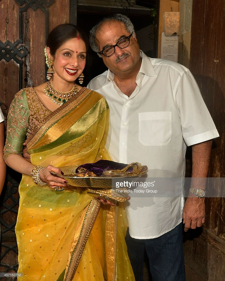 Sridevi and Boney Kapoor at Anil Kapoors Karwa Chauth party in Mumbai.