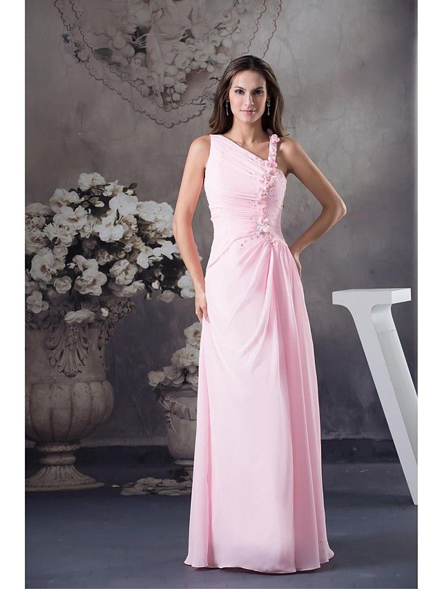 Lanting Bride Floor-length Chiffon Bridesmaid Dress Ball Gown Notched with Beading / Flower(s) - GBP £48.99
