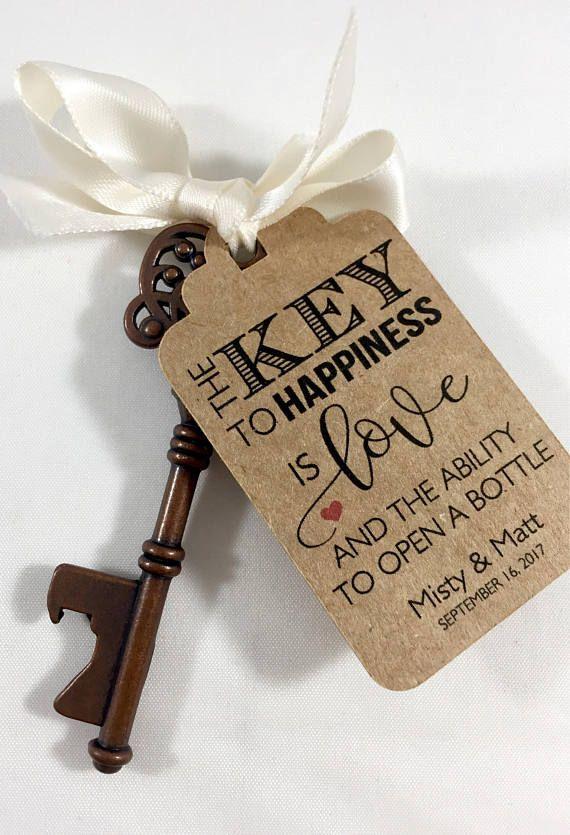 Key Tags Bottle Opener Tags Wedding Favors Skeleton Key Favor