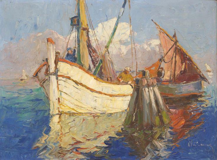 William r.o. gesigneerd, olieverf op doek, vissersboten bij dukdalf, 60 x 80 cm.