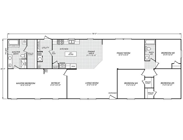 Westfield classic 28764w fleetwood homes spaces floor for Table 52 townsville
