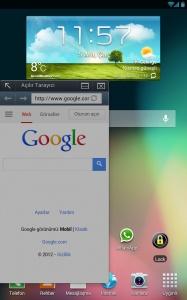 Galaxy SII, SIII, Note ve Note II için Boyutu Ayarlanabilen Popup Browser