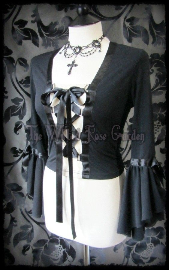 Medieval Goth Black Lace Up Corset Blouse 10 12 Romantic Maiden Cosplay | THE WILTED ROSE GARDEN on eBay // UK Based // Worldwide Shipping Available