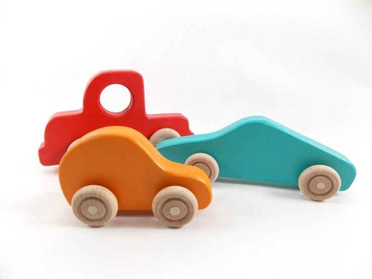 Wooden Toys For Pre School : Colorful wooden car and truck set wood toy vehicles for