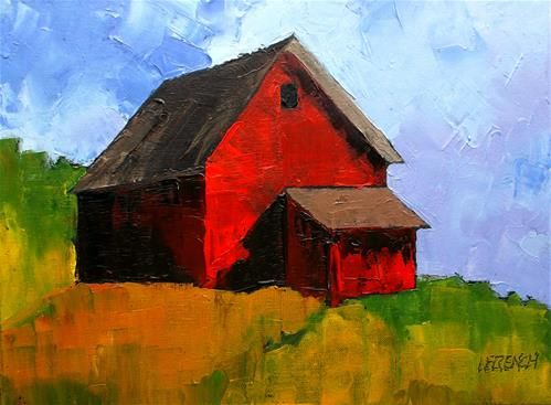 "Daily Paintworks - ""Red Farm Barn"" - Original Fine Art for Sale - © lynne french"