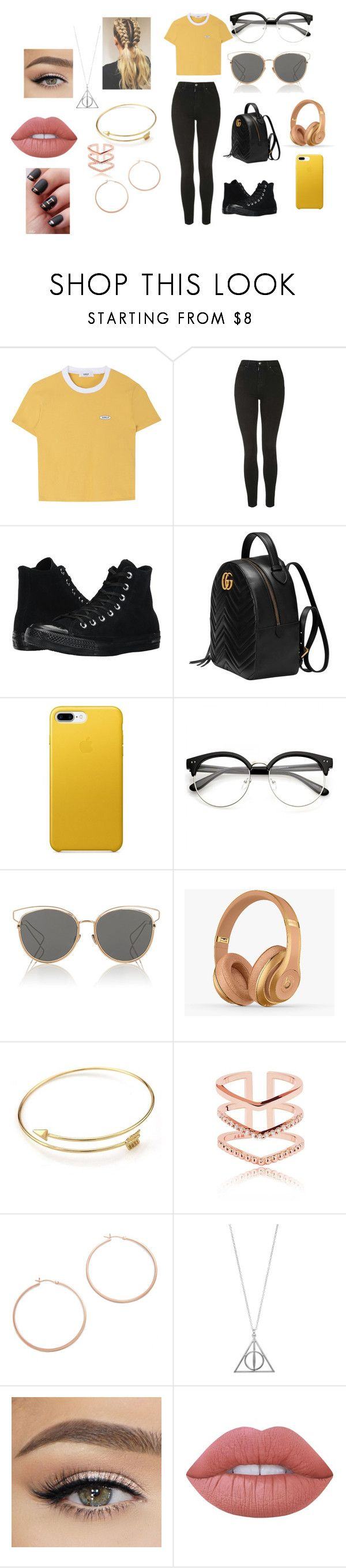 """""""hufflepuff"""" by shannon-tilley on Polyvore featuring Topshop, Converse, Gucci, Christian Dior, Balmain, Jennifer Zeuner and Lime Crime"""
