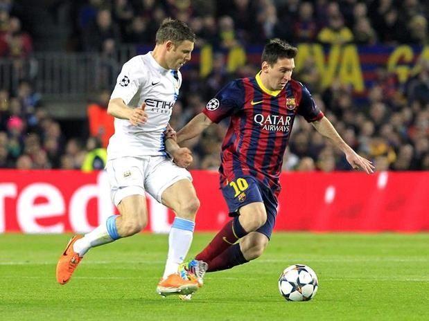 Lionel Messi of FC Barcelona against James Milner of Manchester City