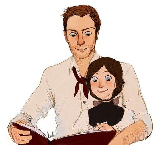 Booker Dewitt with young Elizabeth, Bioshock Infinite