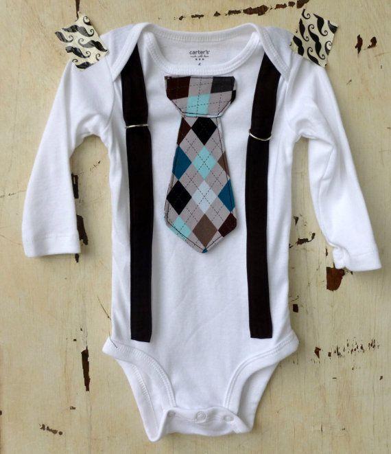 Baby Boy Onesie with Tie and Suspenders - Photo Prop - Infant Onesie - Modern Clothing