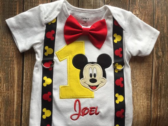 Custom boys first birthday Mickey Mouse by LittleChickiesClips