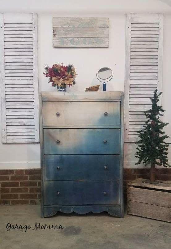 Waterfall Dresser/ CeCe Caldwells/ Thomasville Teal/ Young Kansas Wheat/ Vintage White/ Bohemian/ Boho Furniture/ Art Deco/ Abstract https://www.facebook.com/garagemomma/