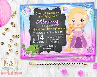 Rapunzel Birthday Invitation Photo Card Tangled Birthday Card