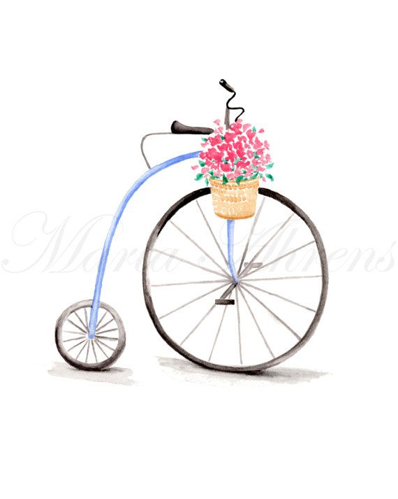 Vintage Bicycle Art Print, Watercolor Print, Giclee Print, Spring Decor, 8x10 Decor, Home Decor, Spring Decor, Summer Decor, Housewarming