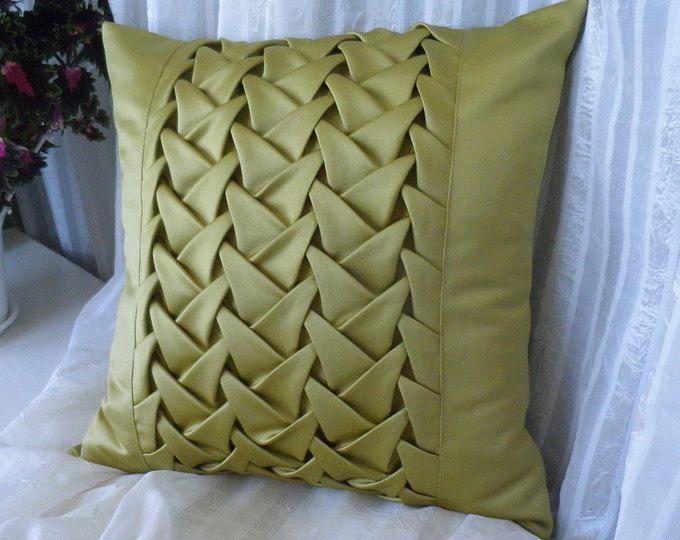 Funda de cojín de almohada amarilla de Satén de raso ahumado, cojín de raso, almohada de tiro amarillo, regalo para mamá