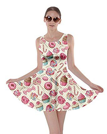CowCow Womens Pizza Coke Cookies Lollipop Candy Macaroon Icecream Skater Dress, XS-5XL at Amazon Women's Clothing store:
