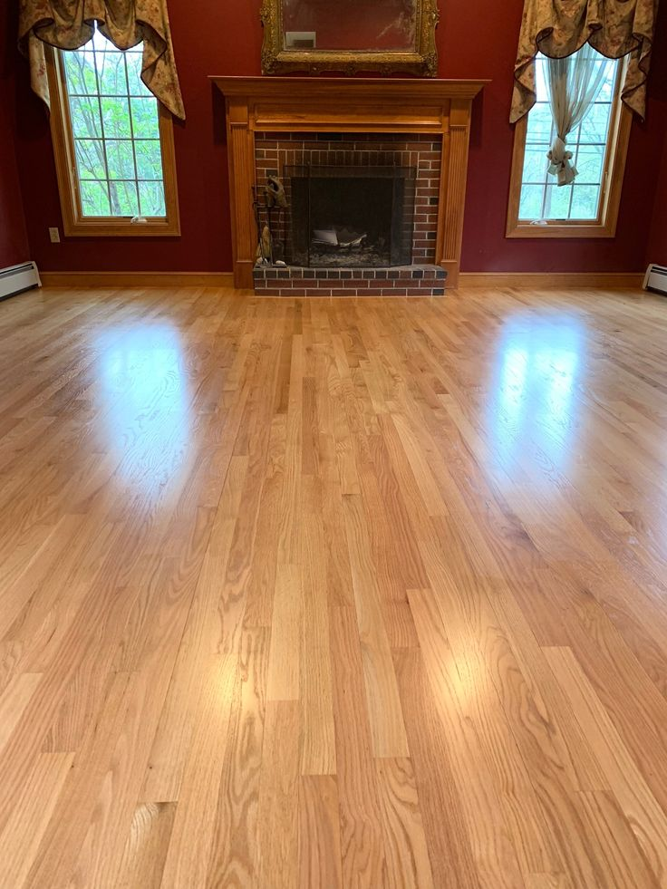 Natural Red Oak hardwood flooring top coated with Bona