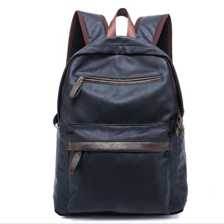2016 Men Leather Backpacks Black School Bags For Teenagers College Bookbag Laptop Backpacks Hiking Travel Bags #Happy4Sales #backpack #bag #handbags #highschool #L09582 #shoulderbags #YLEY