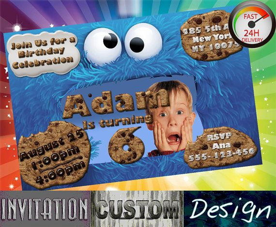 cookies monster invitation birthday boy girl sesame street First Second Third Birthday Party Invites DIY Printable Invitation CM001 on Etsy, 6,51 €