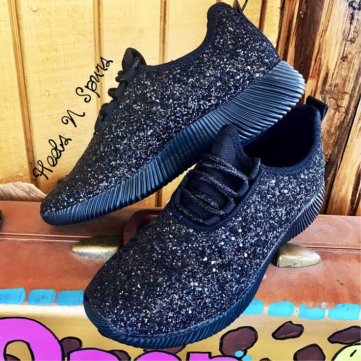Solid Black Glitter Shoes