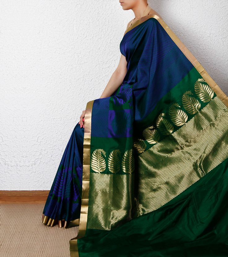 Blue Chevron Silk Saree with Zari Border