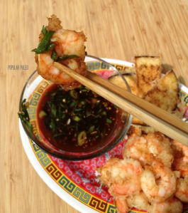 TEMPURA PRAWNS WITH SWEET GINGER DIPPING SAUCE.