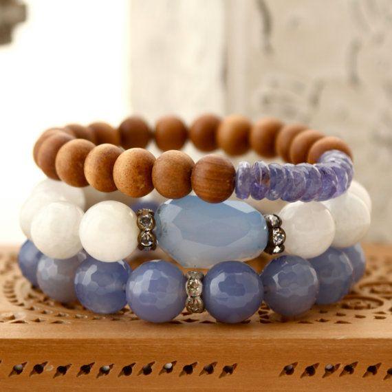 White Moonstone w Violet Gemstone Nugget by LaliJewelryShop, $35.00