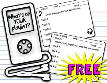 Free download: Back to school playlist for a getting-to-know-you first day (or first week) icebreaker activity.