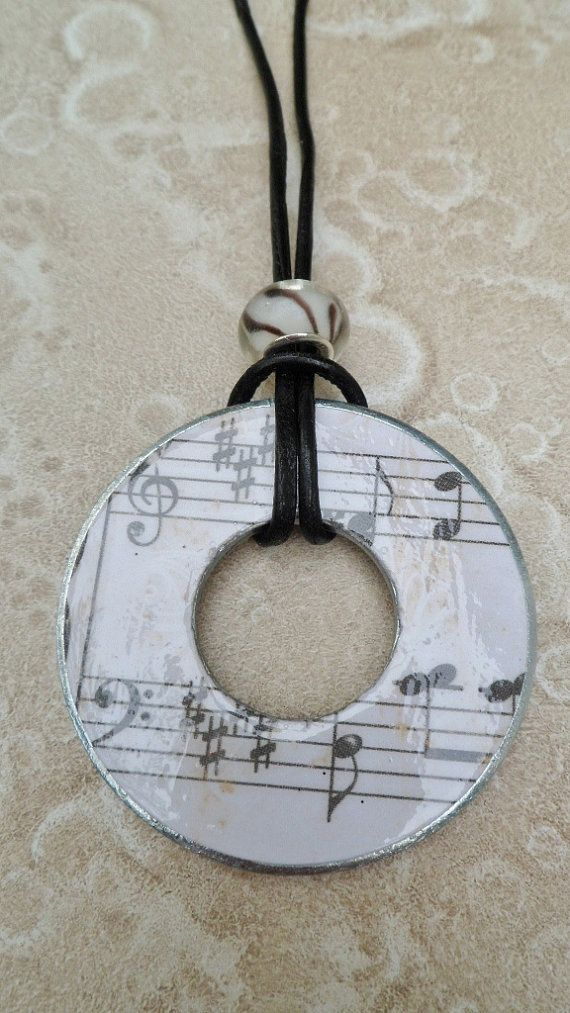Decopaged Washer Necklace  Off white Sheet Music by savardstudios, $10.00