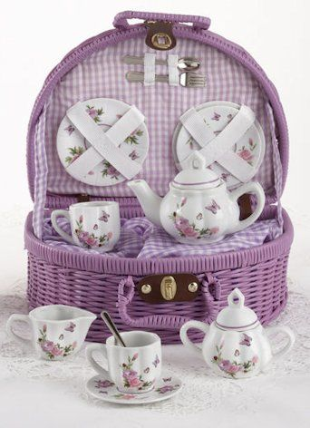 little girl tea sets in wicker basket | Child Girl's Tea Set Porcelain Doll Tea Sets Child's Collectible ...