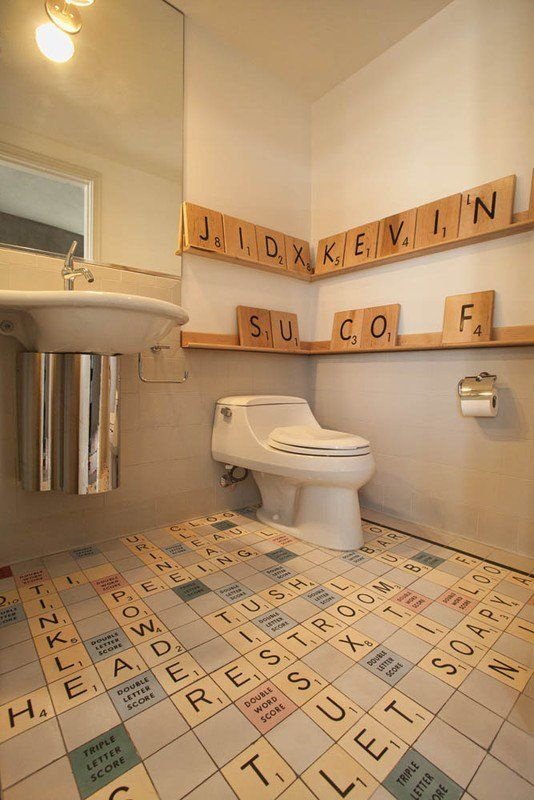 Inspired by the traditional Scrabble board game, you can achieve the same look with our new ceramic Scrabble wall tiles! www.wallsandfloors.co.uk/range/cream-scrabble-tiles/