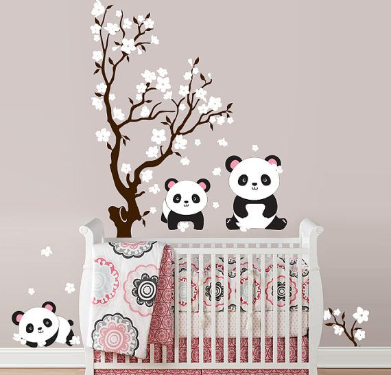 Pandas and Cherry Blossom Tree, Panda Decal, Panda Vinyl Wall Decal for Nursery, Kids, Childrens Room