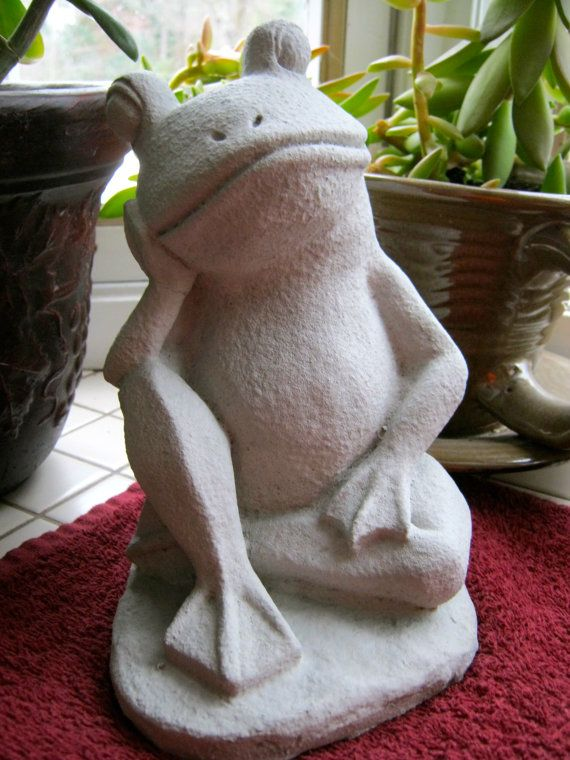 Frog Statue, Concrete Relaxing Frog Figure, Cement Garden Decor On Etsy,  $24.95