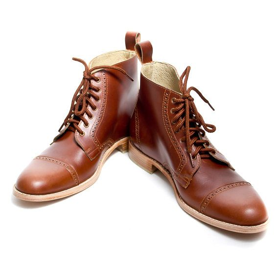 Unisex brown leather bespoke oxford boots FREE by goodbyefolk, $280.00