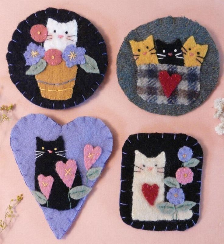 Cute Cats Wool Pins E Pattern kitty brooch jewelry PDF primitive flowers felt kittens. $6.99, via Etsy.