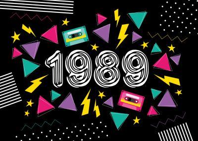 Schön Coole Einladungskarte In Typisch Grellem 80er Look Für Alle  Geburtstagskinder Aus 1989! #