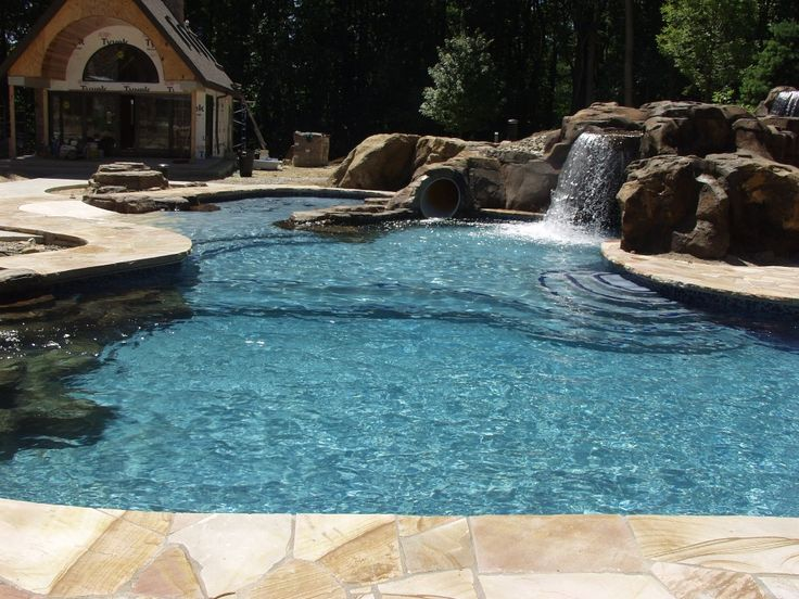 36 best waterfalls images on pinterest pool waterfall for Pool design mcmurray pa