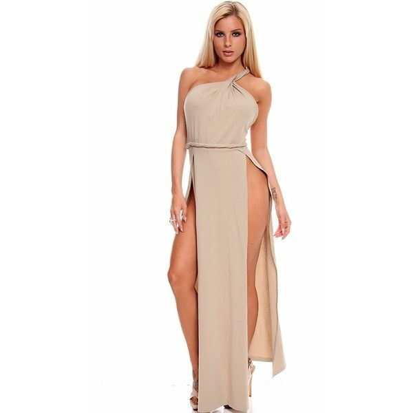 khaki sexy high slit sleeveless one shoulder long roman toga maxi... ($16) ❤ liked on Polyvore featuring dresses, gowns, cheap maxi dresses, halter maxi dress, long maxi dresses, maxi dresses, plus size maxi dresses, khaki, plus size ball gowns and long evening gowns