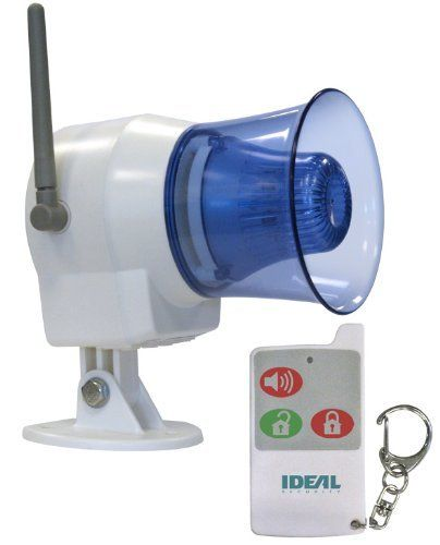 Ideal Security Inc. SK626 Wireless Indoor-Outdoor Siren with Remote Control by Ideal Security Inc.. $89.99. From the Manufacturer                Siren and LED alert flasher. Receives signal from Ideal's wireless sensors and sounds alarm. Links with Ideal's motion sensors, door and window contacts, and garage contacts. Remote control activates and deactivates and features a panic button for emergency. 110 dB loud siren with flashing light Various setup options available. In...